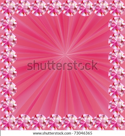 Pink rays in jeweled frame with place for text - stock vector