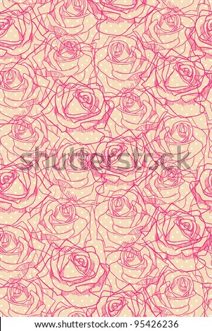 Pink-red roses on light beige and white polka dot background. Seamless pattern. - stock vector
