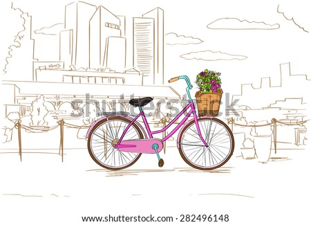 Pink Retro Bicycle with Flowers over City Sketch Vector Illustration - stock vector