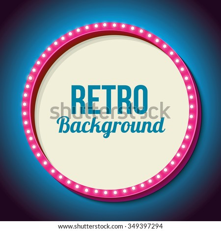 Pink retro frame with neon lights. Round volumetric 3D frame with yellow and blue light bulbs on a black wall. Pure white background for your text, events, advertising. Vector illustration - stock vector