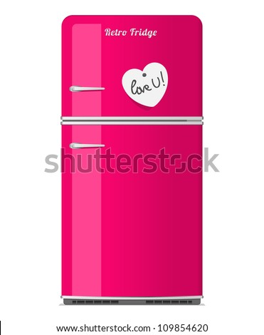 Pink retro fridge with paper note in the shape of heart. Vector illustration. - stock vector