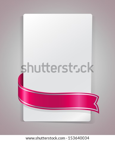 Pink ribbon bending around blank paper card vector template. - stock vector