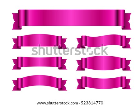 Pink ribbons set satin blank banners stock vector 523814770 pink ribbons set satin blank banners collection design label scroll blanks element isolated yadclub Image collections