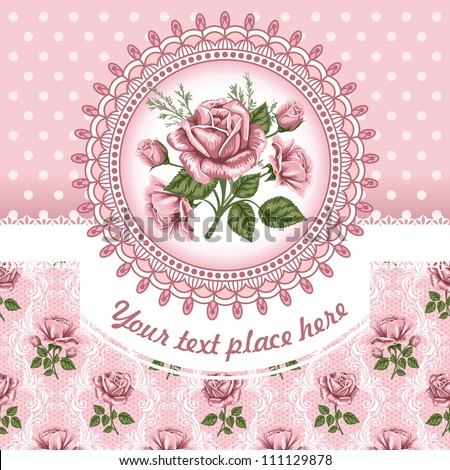 Pink romantic floral background with vintage roses - stock vector
