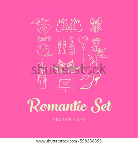 Pink Romantic St. Valentines Day Set. Contains images of couple of birds, rose, champagne with glasses, candle, balloon, gift, hands, envelope, bow tie, apple and heart.