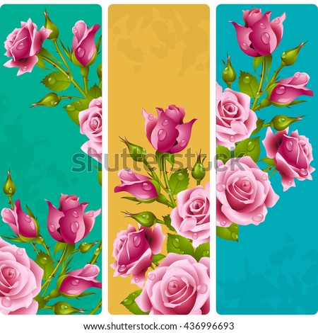 Pink rose frames. Vector set of floral vertical banners