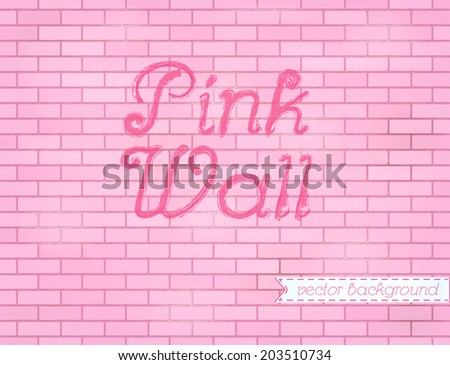 Pink rose grunge brick wall background backdrop, stock vector graphic illustration - stock vector
