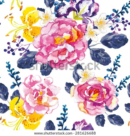 Pink roses and yellow lilies with dark blue leaves and floral elements on the white background. Watercolor seamless pattern with summer flowers. Roses, irises and lilies. - stock vector