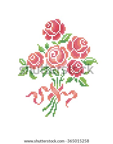 Pink roses. Bouquet of flowers. Scheme of knitting and embroidery. Vector. - stock vector