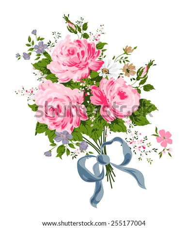 Pink roses bouquet with blue silk ribbon. Vector illustration. - stock vector