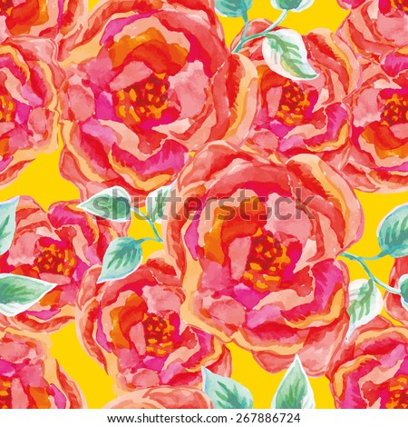 Pink roses on the yellow background. Watercolor seamless pattern with big red flowers. - stock vector