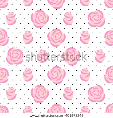 Pink roses pattern on polka dots background. Floral seamless pattern. Fashion design for fabric and decor. Vector decorative illustration. - stock vector