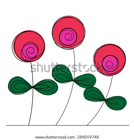 Pink round shaped flowers isolated on the white background - stock vector