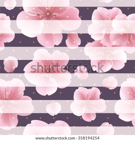 Pink sakura flowers with petals on the striped background. seamless pattern with summer flowers, dots and lines. Modern concept design template - stock vector