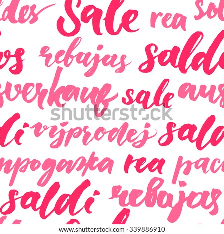 Pink sale texture with handwritten text in different languages. Seamless pattern for promo and advertisement. Vector lettering background for package and shop window design - stock vector
