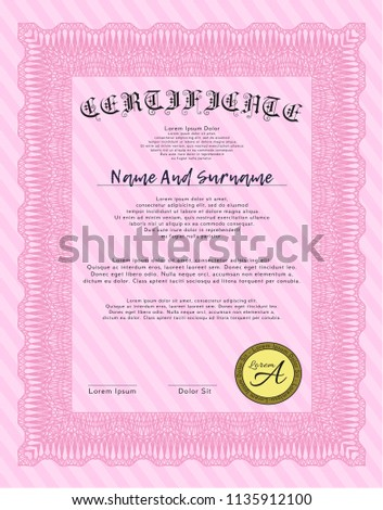 Pink sample certificate artistry design detailed stock vector hd pink sample certificate artistry design detailed with background thecheapjerseys Image collections