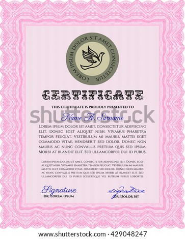 Pink Sample Certificate. With quality background. Vector pattern that is used in money and certificate. Artistry design.