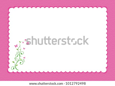 Pink scalloped border with floral design and white background for writing space