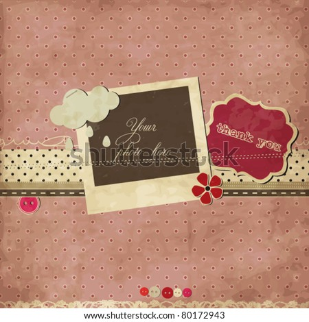 Pink scrap template - stock vector