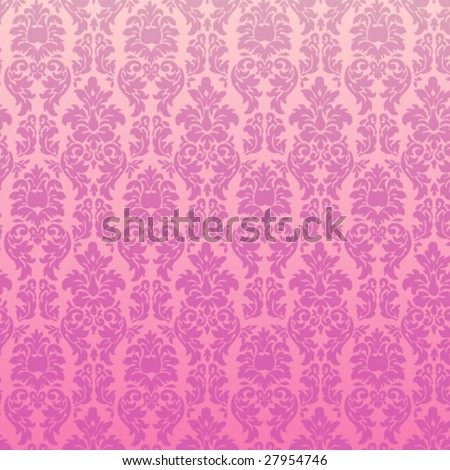 Pink Seamless Damask Vector Illustration - stock vector