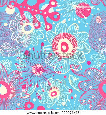 Pink seamless decorative abstract pattern. Ornate abstract background - stock vector