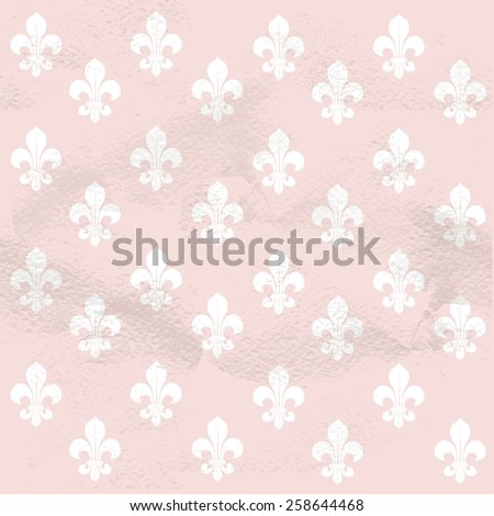 Pink seamless grungy vintage pattern from white Fleur-de-lys - stock vector