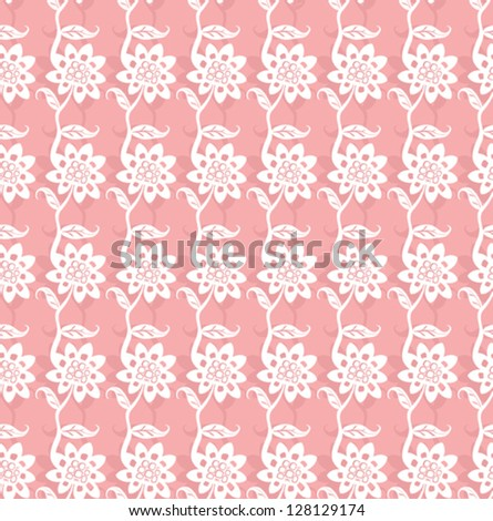 Pink seamless pattern with cute flowers.