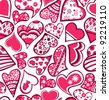 Pink seamless pattern with hearts - stock vector