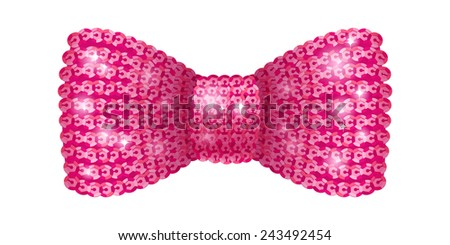 Pink sequins bow tie. Glamorous glitter formal wear. Decoration element. - stock vector
