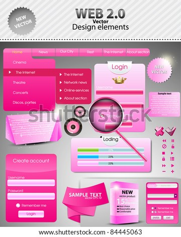 Pink Set: forms and design element for web. Vector - stock vector