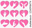 Pink Set of 9 Heart Icons with Hand Gestures, Vector Illustration. Also See Red Set - stock vector