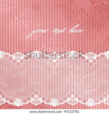 Pink shiny background with off-white lace (eps10); jpg version also available - stock vector