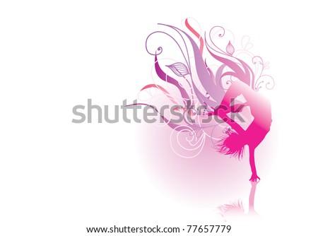 pink silhouette dancer - stock vector