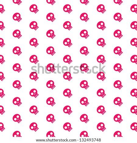 Pink skull patterns on white background - stock vector