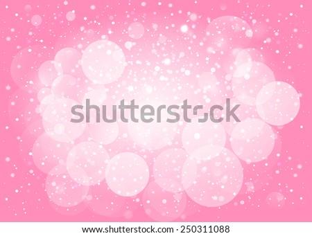 Pink snow bokeh background. Vector EPS10. - stock vector