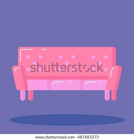 Pink Sofa Icon On Purple Background Stock Photo (Photo, Vector ...