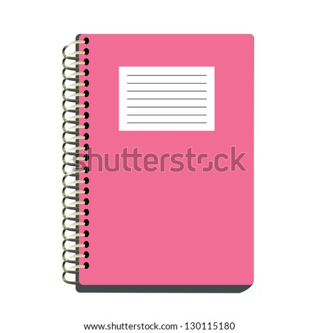 Pink spiral notebook isolated on white background with clipping path. - stock vector