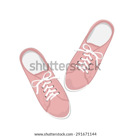 Pink sport gumshoes. Realistic flat illustration isolated on white background. View from above - stock vector