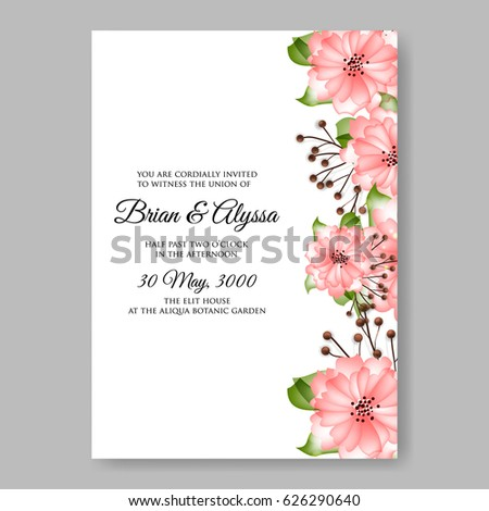 Pink spring flower wedding invitation vector stock vector hd pink spring flower wedding invitation vector template mightylinksfo