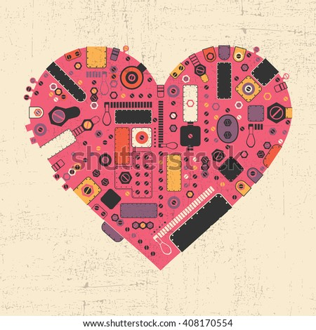 Pink steam punk heart with different color element shapes on yellow grunge background. Vector illustration - stock vector