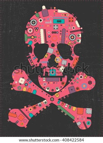 Pink steam punk skull with colorful element shapes on black grunge background. vector illustration - stock vector