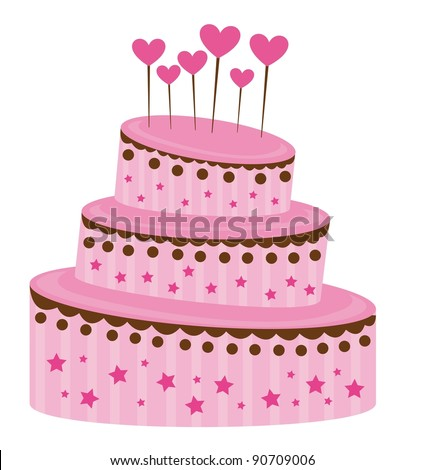 pink strawberry cake over white background. vector illustration