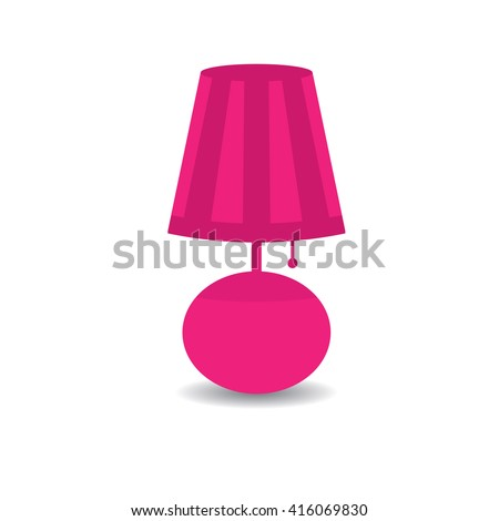 Pink table lamp with shadow isolated on white background. - stock vector