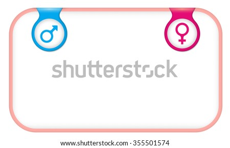 Pink text frame for your text with man and woman symbols - stock vector