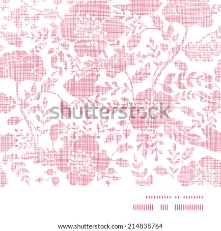 Pink textile birds and flowers horizontal frame seamless pattern background - stock vector