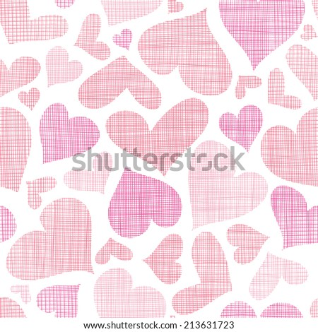 Pink textile hearts seamless pattern background