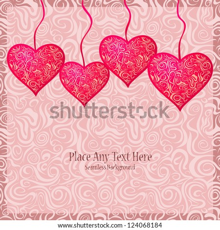 Pink Textured Heart Hanged on Strings. Invitation Card on Abstract Swirl Background - stock vector