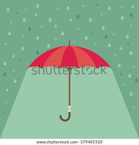 Pink umbrella with rain. Vector background - stock vector