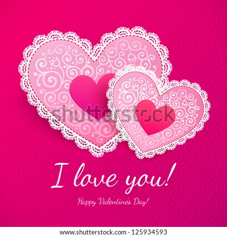 Pink Valentines Day Lacy Hearts Vector Stock Vector 125934593 ...