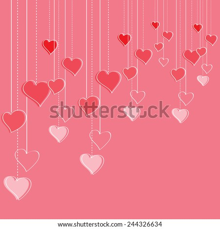pink valentine`s day romantic template with hipster style hand drawn heart doodles